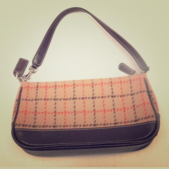 949fd7f72a0 Coach Handbags - Coach leather wool mini hand bag brown   tan